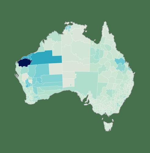 澳大利亚高收入者分布区域-颜色越深高收入者比例越大
