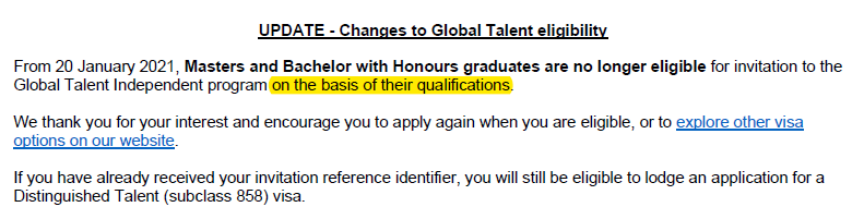 update - changes to global talent eligibility